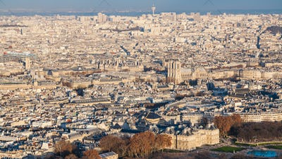 panorama of Paris city with Luxembourg garden