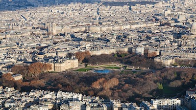 above view of luxembourg garden in Paris city