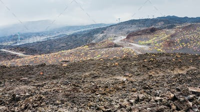 hardened lava field and cableway on Mount Etna