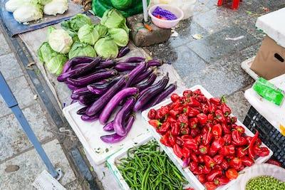 vegetables on street outdoor market in Yangshuo