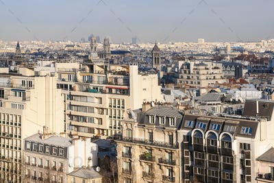 above view of in Paris city in winter twilight