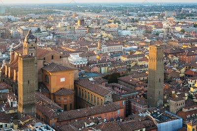 basilica san petronio and towers in Bologna city