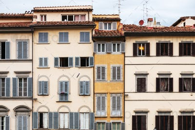facades of various medieval houses in Florence