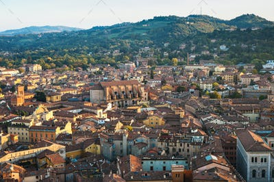 above view of Bologna city from Torre Asinelli