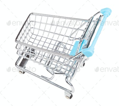 empty shopping trolley isolated on white