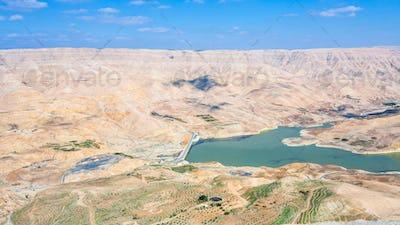 valley of Wadi Mujib river and Al Mujib dam