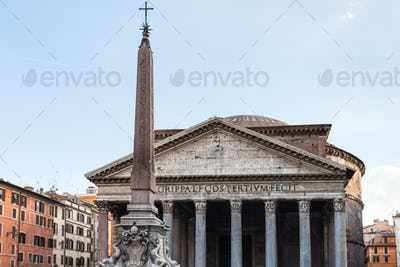 facade of Pantheon and egyptian obelisk
