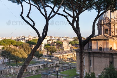 view on Roman forums and Church