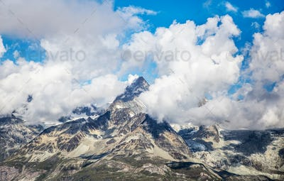 Cloudy mountain landscape with the Matterhorn peak, Switzerland
