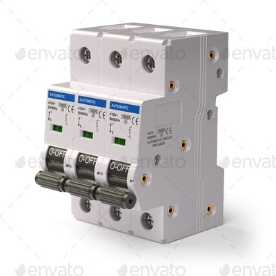 Automatic circuit breaker isolated on white background