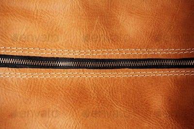 zipper of leather bag