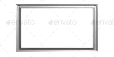 Silver frame on white background. 3d illustration