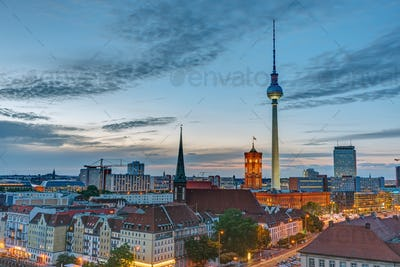 The Television Tower and the townhall after sunset