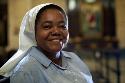 Woman And Spirituality Portrait Of Catholic Nun Praying In Chur