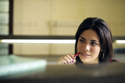 University Library And Female Student Beautiful Young Woman Stu