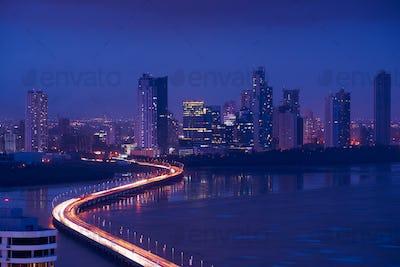 Panama City Night Skyline View Of Traffic Cars On Highway