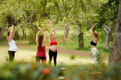 Pregnant Women Doing Yoga With Personal Trainer In Park
