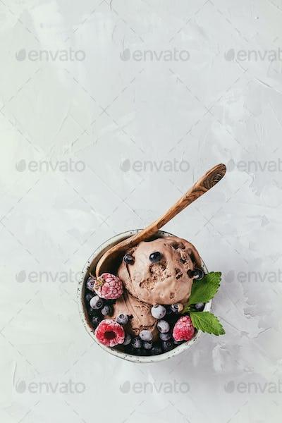 Homemade chocolate ice cream