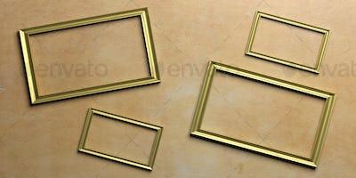 Golden frames on painted wall. 3d illustration