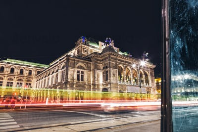 State Opera in Vienna Austria at night
