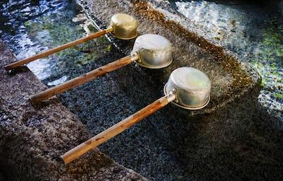 Water dipper at japanese shrine, Tokyo, Japan