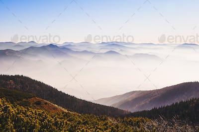 Landscape view of autumn misty mountains, Slovakia