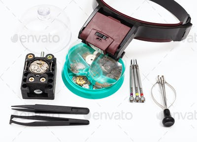 kit of tools with head-mounted magnifier