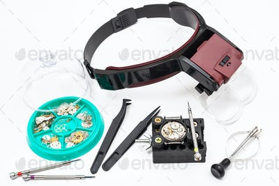 various tools with head-mounted magnifier