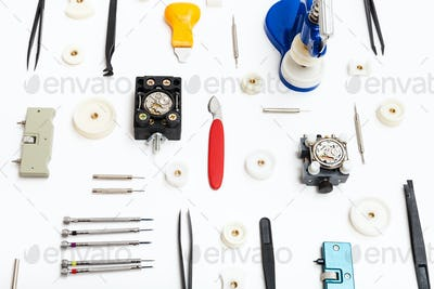 collage of various tools for watch repairing