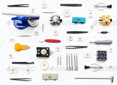 ornament from various watch repairing tools