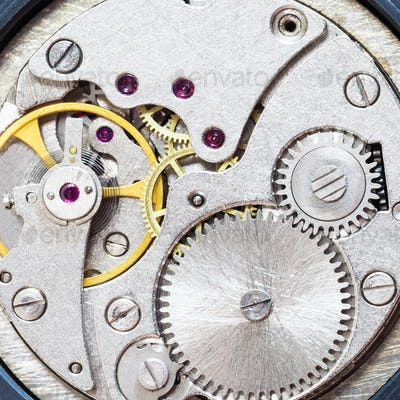 gray clockwork of old mechanical watch