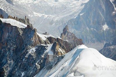 View of Chamonix Mont Blanc Massif, French Alps