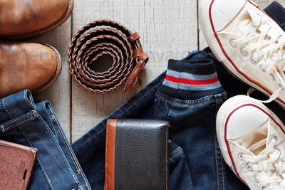 Clothes and accessories on wooden