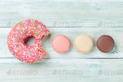 Macaroons and colorful donut