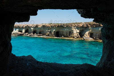 Sea caves. Ayia Napa, Mediterranean sea coast, Cyprus