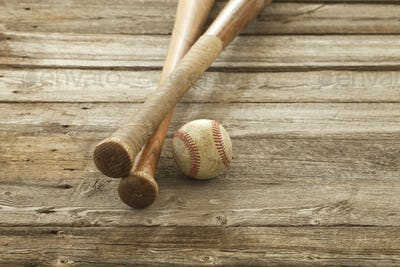 Baseball and Bats on Old Rough Wood