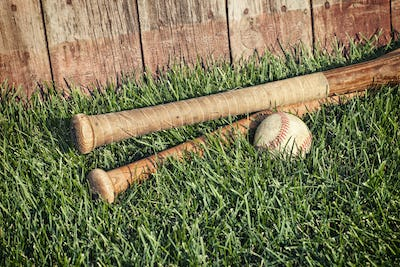 Old Baseball Bats and Ball in Grass by Wood Fence