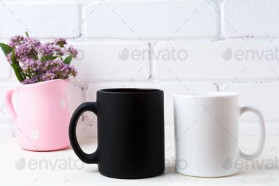 White and black mug mockup with purple flowers in polka dot pink