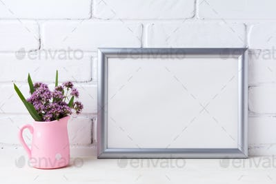 Silver landscape frame mockup with purple flowers in pink rustic