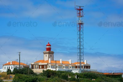 Red Lighthouse At Cape Cabo Da Roca, Portugal