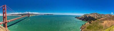 Panoramic large resolution shot of Golden Gate Bridge in San Fra