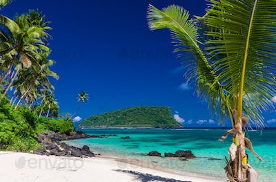 Panorama of vibrant tropical Lalomanu beach on Samoa Island with