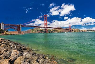 Panoramic shot of Golden Gate Bridge in San Francisco, Californi
