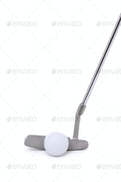 Golf Putter and Ball Isolated on White Background