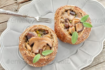 Bread Buns With Mushrooms And Sage