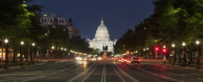 US Capitol and Constitution Avenue at Night