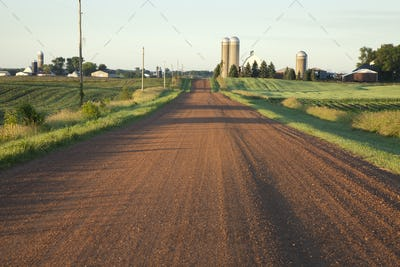 Rural Road in Midwest USA in Morning Light