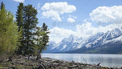 Grand Teton Mountains and Lewis Lake in Wyoming