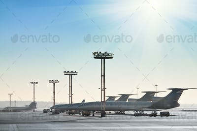 Planes on the runway