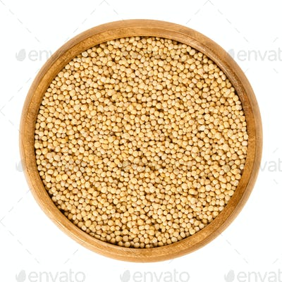 Yellow mustard seeds in wooden bowl over white